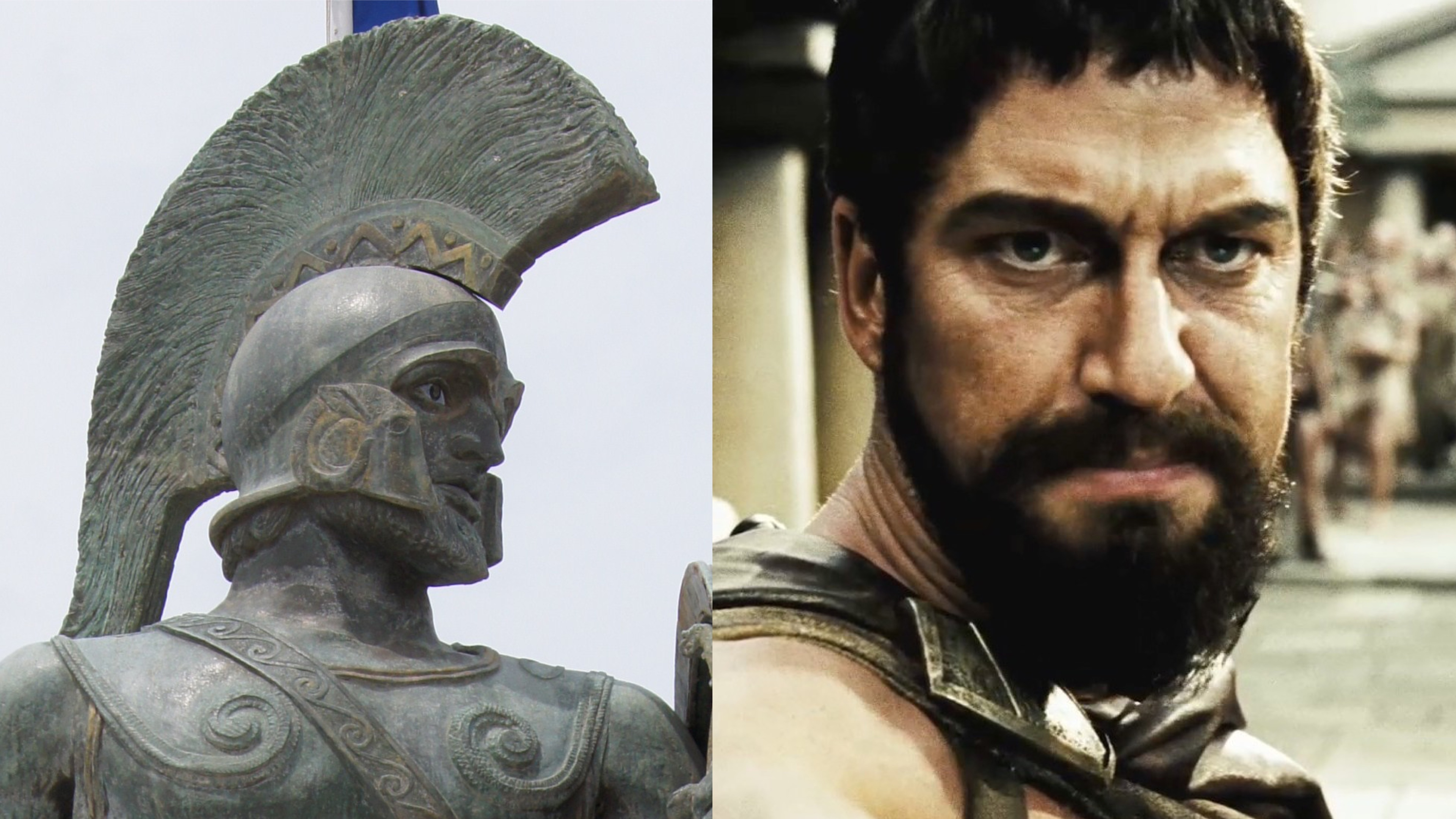 Leonidas statue meets Gerard Butler, who played as him in the movie 300